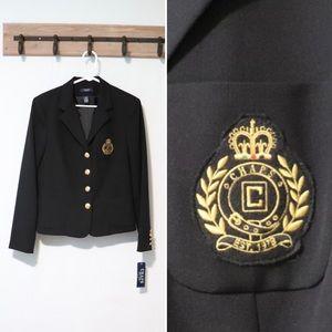 Chaps black gold embroidered logo blazer large